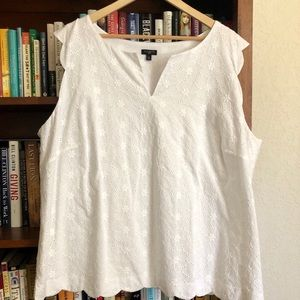 Talbots white eyelet scallop-hem sleeveless top.